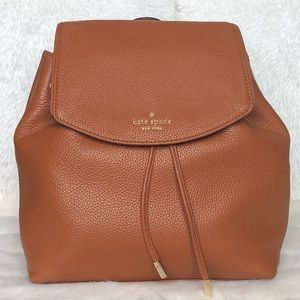 🌟Kate Spade Warm Cognac Leather Backpack